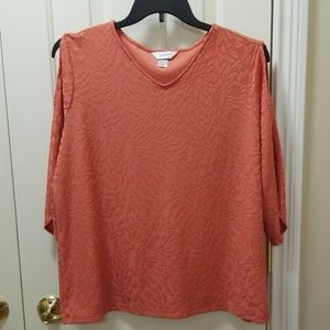 cj banks cold shoulder blouse sz X (14W)